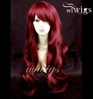 Wonderful wavy Long Burgundy mix Red Curly Heat Resistant Ladies Wigs + Cap free ship