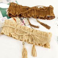 Fashion pleated suede fabric cutout tassel elastic strap elastic cummerbund decoration belt female