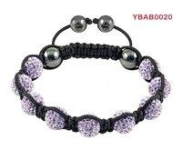 wholesale shamballa mauve crystal bracelet for women