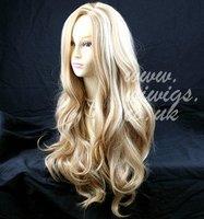 Fabulous Long Layers Wavy Wig Blonde mix Ladies Wigs + Cap free ship