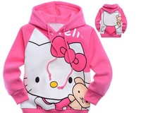 free shipping hello kitty printing childrens clothing KT cat boy's girl's top shirts Hooded Sweater hoodie coat overcoat
