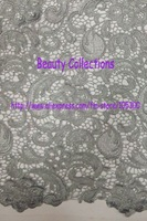 Free shipping!!! French lace,chemical lace,nice new design lace fabric BCL6028 GRAY