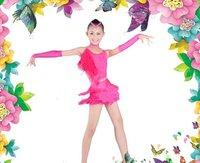 2012 new style fashion girl Latin dance suit 3~13T kid Tassel Cha-Cha perform costume child Ballroom dress set mixed color&size