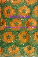 Free shipping!!! French lace,chemical lace,nice new design lace fabric,big korea special deign Colorful Green with ORANGE