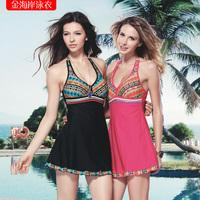 Wind one-piece dress female swimwear push up plus size hot spring swimsuit