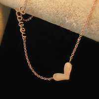 Women love 14k rose gold titanium steel necklace anti-allergic