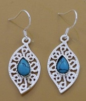 Min order 15USD(MIX)  Fashion Jewelry  Silver Plate Jewelry Created Gemstone Turquoise EarringsYE083