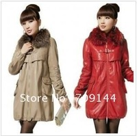 Free Shipping Fashionable Real Raccoon Fur Collar Long Leather Jacket Women Coat  M L XL XXL
