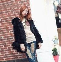 Free shipping Fur coats  women's rabbit fur faux hooded casual outerwear overcoat outerwear faux fur coat