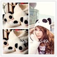 Special Offers! hot girl hat 100% wool hat  glove  earmuff scarf mask Panda cap children animal cap Warm winter Gift