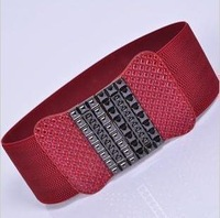 free shipping Bow wide belt fashion decoration cummerbund elastic waist band women's strap black p601