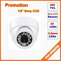 "Promotion 1/3"" Sony 480TVLine 24leds indoor dome Camera CCTV Camera free shipping"