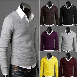 Горячие модели взрыва мужской свитер с сплошной цвет хлопка мужской свитер с длинными рукавами футболки шесть цветов ML- XL - XXL