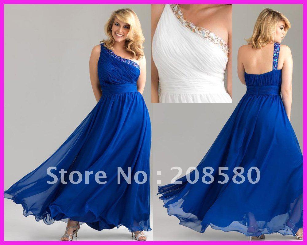 One Shoulder Red Prom Dresses Plus Size Royal blue one shoulder A line