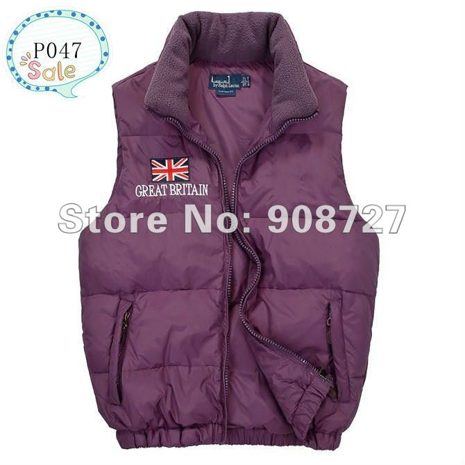 Hot sale Free shipping-New Arrival 2012 Mens POLO down vest, 5 color Great britain flag down vest for men P047 Size M LXL XXL(China (Mainland))