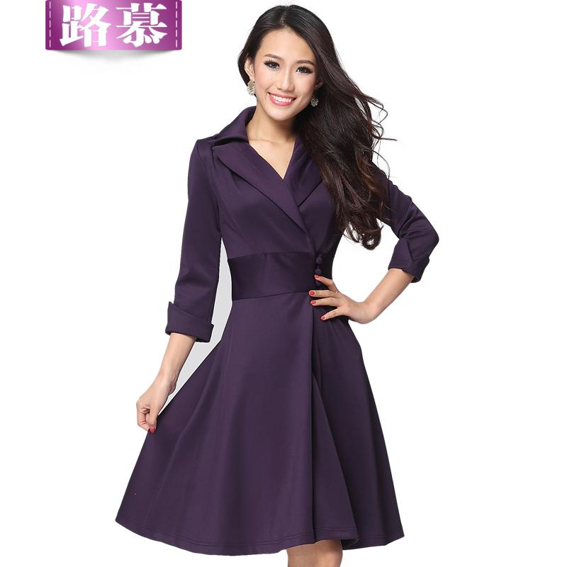 v neck plus length dresses