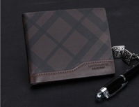 Free shipping/Brand Genuine Leather Wallet for men+designer leisure Plaid Real Leather bifold purse + credit card holder H037-1
