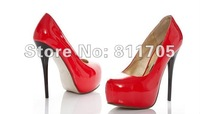 Free shipping Fashion Platform Pumps Patent Leather Sexy Stiletto wedding High Heels shoes round toe Lady Shoes drop ship 305