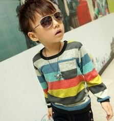 (5pcs/1lot free shipping)baby boys long sleeve t-shirt casual fashion colorful striped t shirt children cotton top clothes