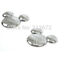 Accessories Fashion Car Sticker Emblem 3D car Sticker Metal Mouse Head Automotive Vehicles Paste Silver 1 pair/lot