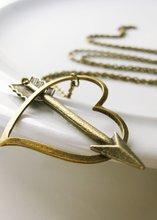 CUPID arrow antique brass lariat shot throught the heart necklace pendant NK010