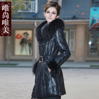 Aesthetic Women down coat 2012 Women ultralarge raccoon fur royal luxury long design