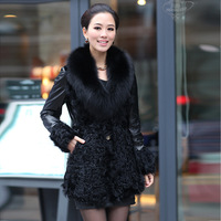 Fur coat 2012 genuine leather sheepskin plus cotton medium-long wool fox fur mink marten overcoat