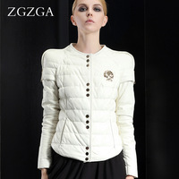Zgzga vintage white sheepskin genuine leather down short design women's leather clothing