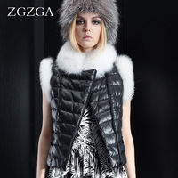 Zgzga autumn fox fur sweet princess small leather clothing female short design sheepskin down vest