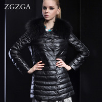 Zgzga winter raccoon fur genuine leather sheep leather clothing down women's long design slim outerwear