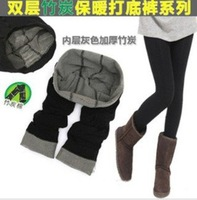 Free shipping High thickness keep warm Bamboo Charcoal Fiber double-deck Women's Leggings#C0055
