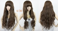 light brown #4t30,26inch 200g Silky Curly indian remy Mix Human hair wigs/fashion wigs, free shipping
