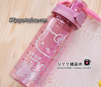 Hello kitty HELLO KITTY plastic Large flip water bottle glass water bottle pink