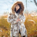 Rree shipping+winter  2012+ladies coat+Leather coat jacket+Rabbit 's hair
