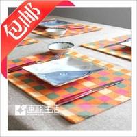 Cotton Scotland checkered placemat /Fashion Fabric table mat/ Coaster Insulation Plates bowls pad/felt Mats & Pads Home fashion