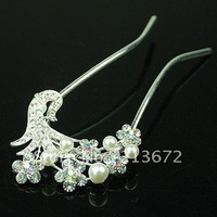 Hot Sales New Fashion Beautiful Bridal Hair Sticks With Pearl Shining Headwear For Women Retail&Wholesale Joker More Occtions