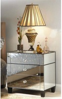 MR-401225 glass mirrored side table with 3 drawers