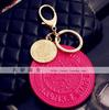 Fashion big round plate japanned leather keychain bags hangings
