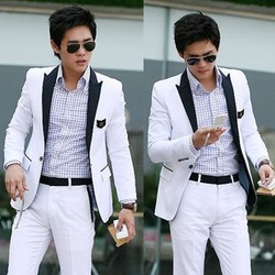 New Stylish Men&#39;s Blazer Casual Slim fit One Button Pop Suit Blazer Coat Jacket White free shipping(China (Mainland))