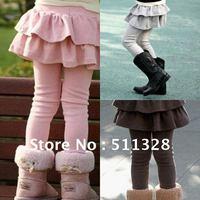 FREE SHIPPING girl leggings winter girl leggings with skirt winter  girls clothing baby legging layered dress trousers