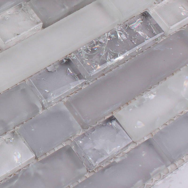 Frosted Glass Mosaic Tile Backsplash Interlocking Crackle