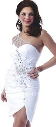 Free Shipping One Shoulder Short White Dress for Homecoming 2012(China (Mainland))