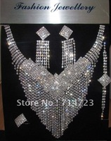 Factory outlet priice 1SETBridal Drag Queen Clear Rhinestone Necklace Ring  Braceletet and  Earrings  S011