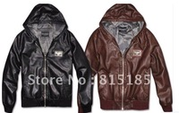 free shipping Leather official catwalk models steel the brand LOGO generous men's leather plus Mauri mens coat