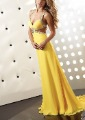 Free Shipping A Line Spagetti Straps Sweetheart Chiffon Floor Length Yellow Evening Dress With Beadwork(MDE23)