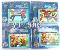 Hot sale! Wholesale New Lot 10 Super Mario sets cartoon kids part Set watch Wristwatch and wallet purse
