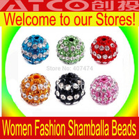 500pcs/lot Color options Shamballa Beads 10mm beads crystal Wholesale Free Shipping Shambhala Beads Micro Pave disco ball beads