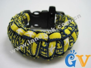 Michigan Wovelrines Paracord Survival Bracelet, Plastic Whistle Buckle, 50pcs/lot, Free Shipping