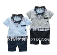Retail 1 pcs/lot,cute bule or gray Combed cotton gentleman baby boys romper,baby wear, free shipping