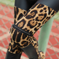 Sexy Street Fashion Women's Basic Leopard Print Faux Leather Patchwork Opening Zipper Leggings